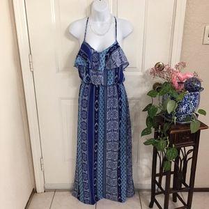 City Triangle Blue Print Maxi Dress (size XS)(C7)